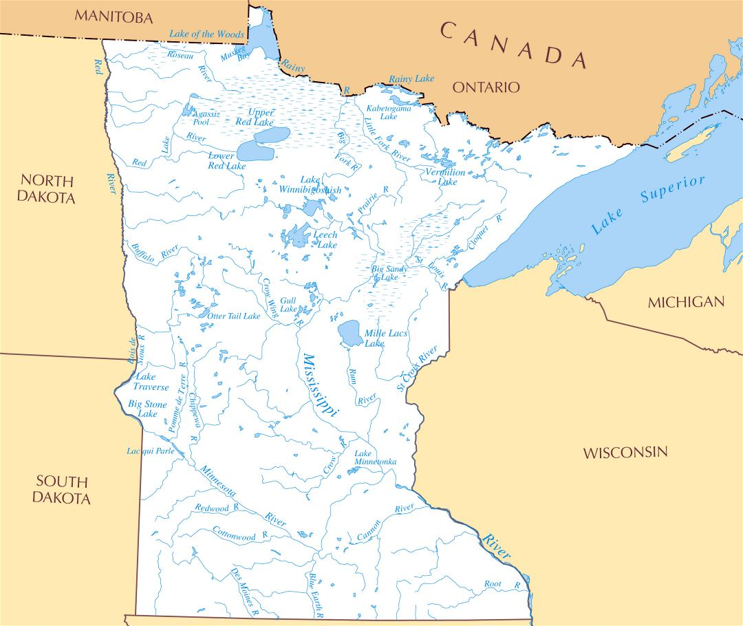 Large rivers and lakes map of Minnesota state