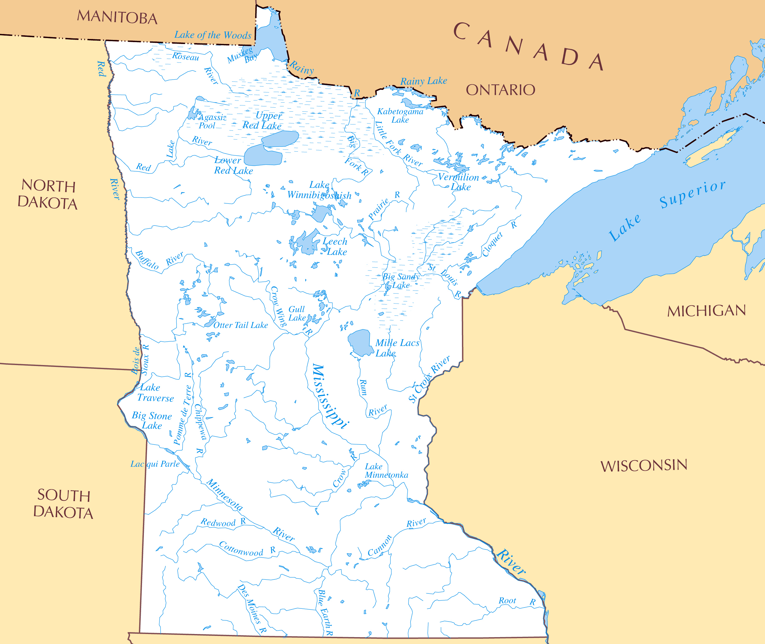 Large rivers and lakes map of Minnesota state Minnesota state