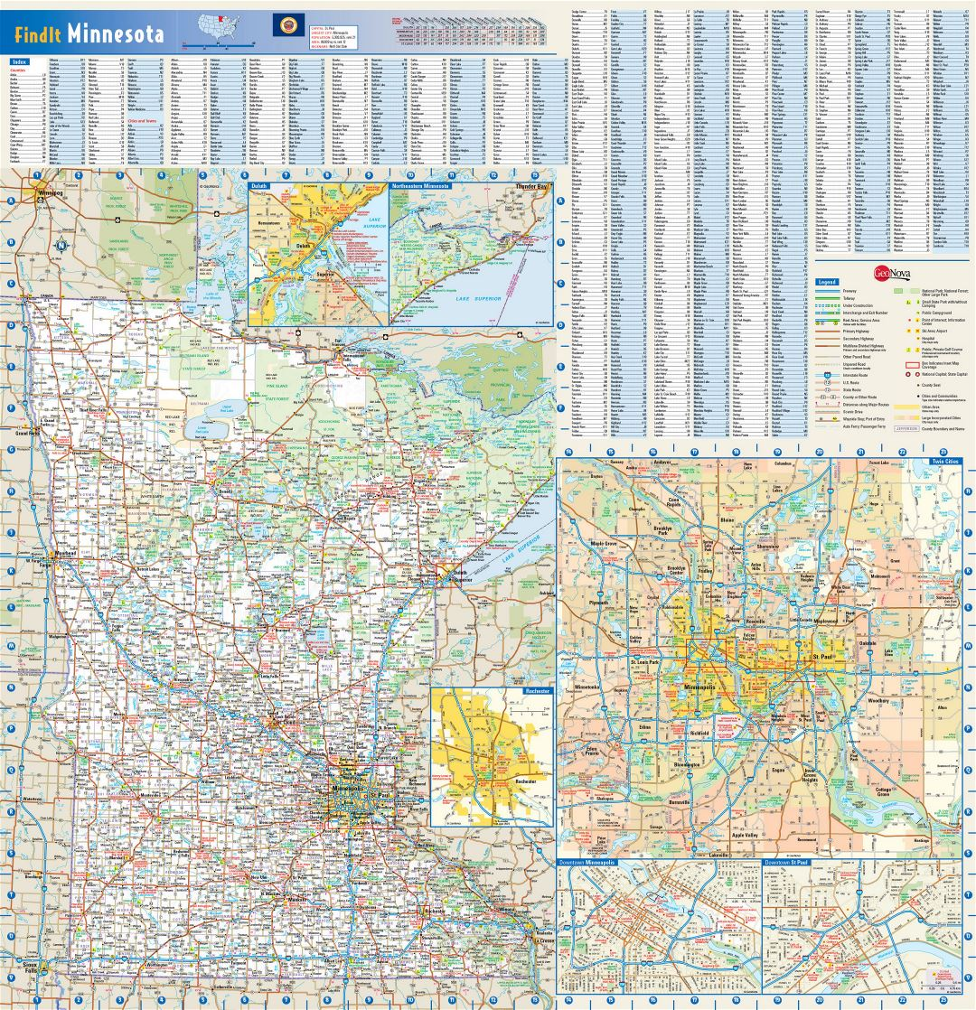 Large roads and highways map of Minnesota state with national parks, all cities, towns and villages