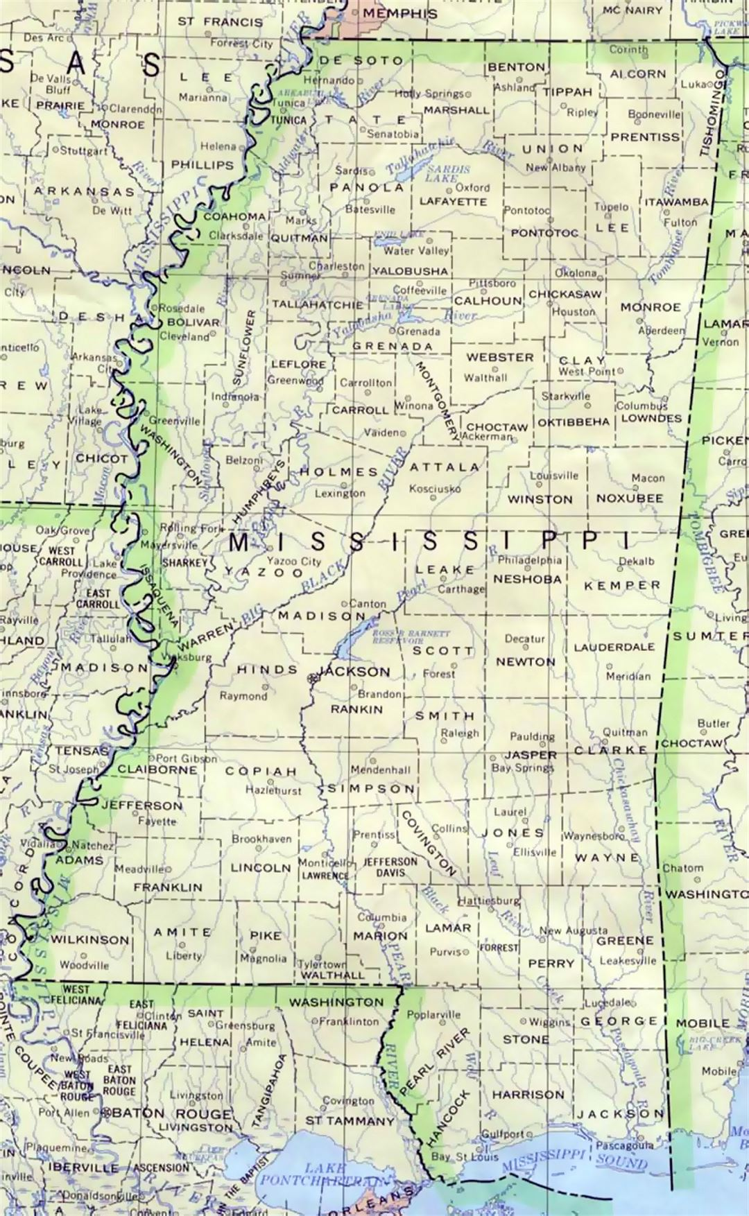 Administrative map of Mississippi state