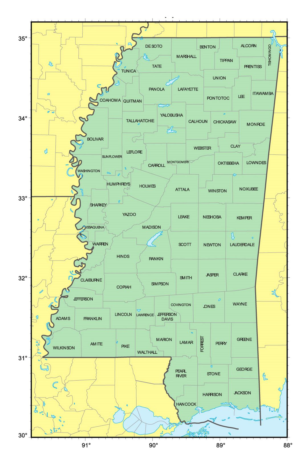Detailed administrative map of Mississippi state