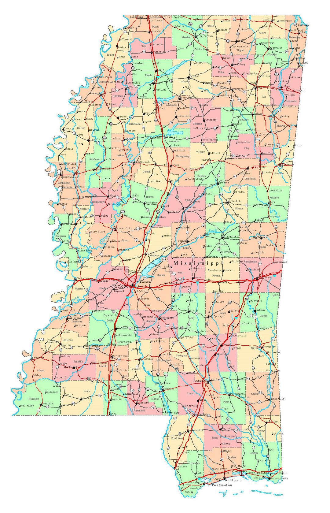 Large detailed administrative map of Mississippi state with roads, highways and cities
