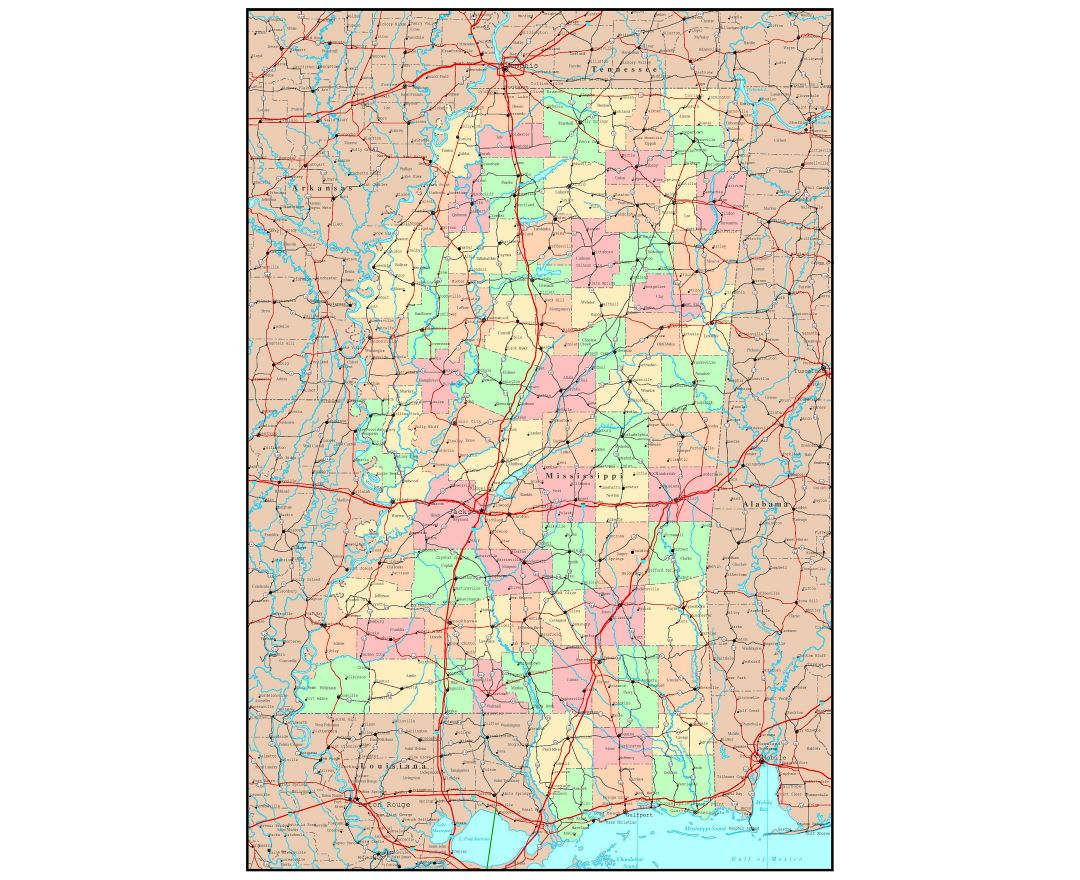 Maps Of Mississippi State Collection Of Detailed Maps Of - Mississippi state map usa