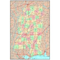 Large detailed roads and highways map of Mississippi state ...