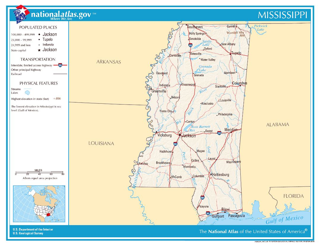 Large detailed map of Mississippi state