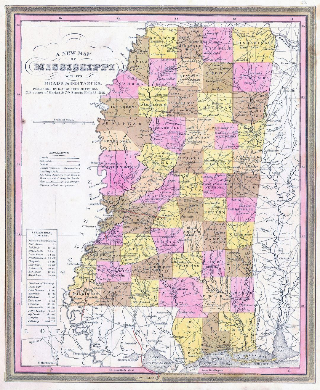 Large detailed old administrative map of Mississippi state with roads, railroads and cities - 1846