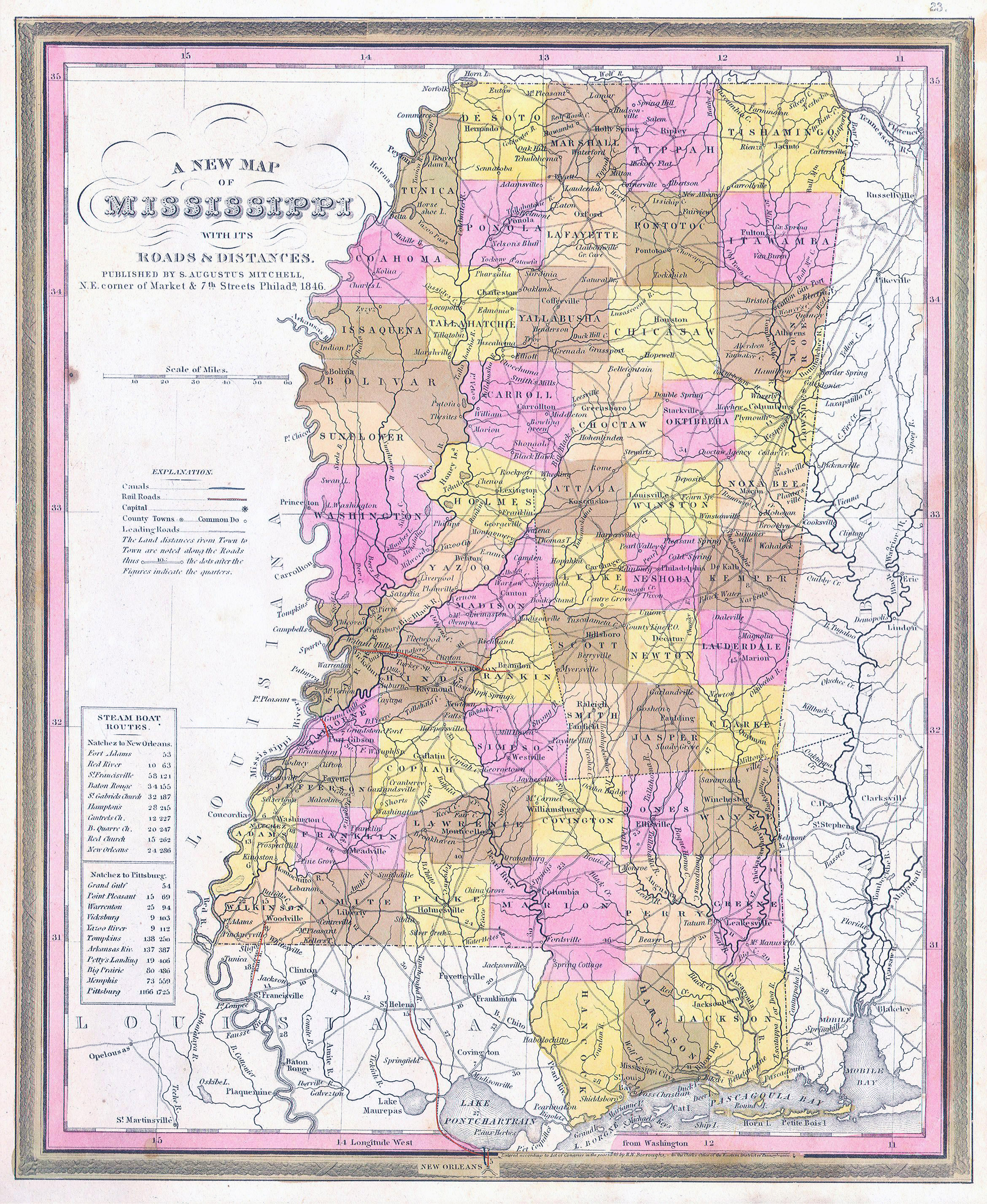 Large detailed old administrative map of Mississippi state with