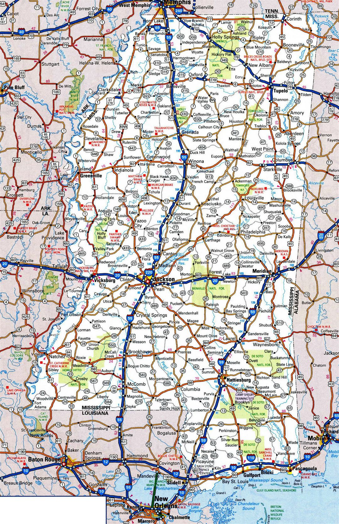 Large detailed roads and highways map of Mississippi state with all cities and national parks