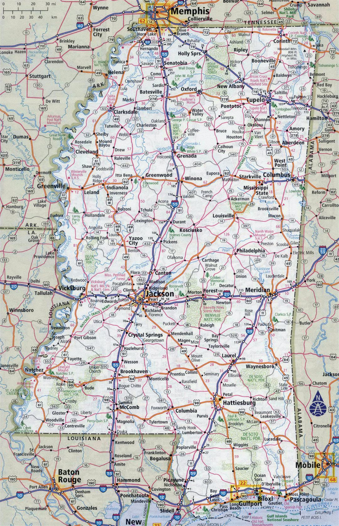 Large detailed roads and highways map of Mississippi state with all cities