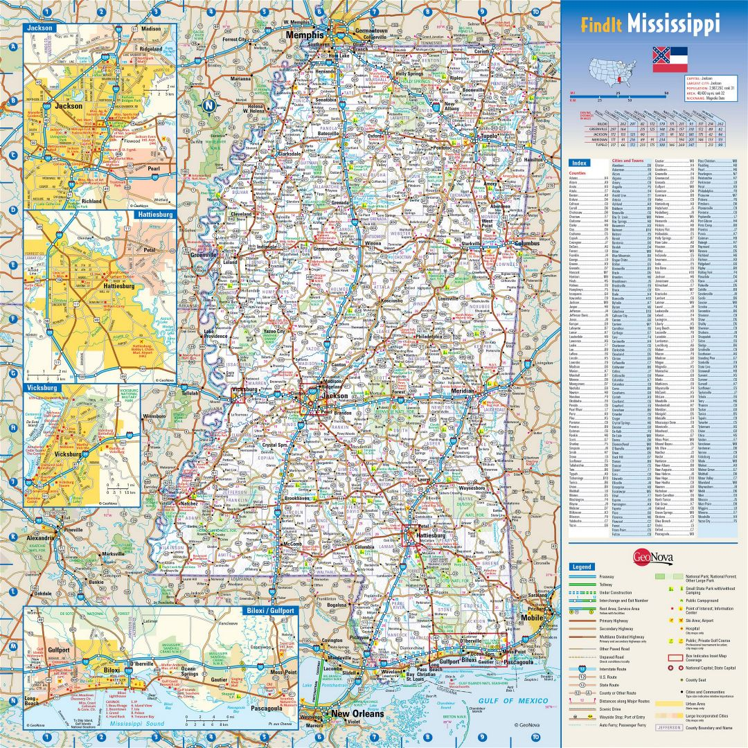 Large Detailed Roads And Highways Map Of Mississippi State