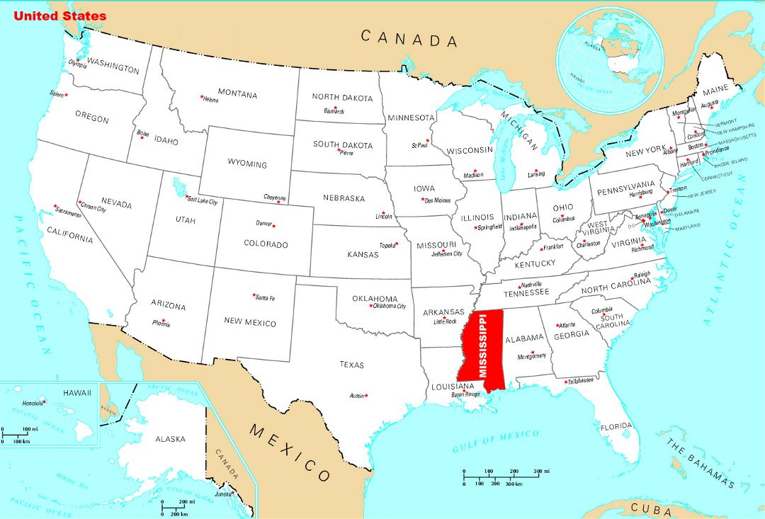 Large location map of Mississippi state