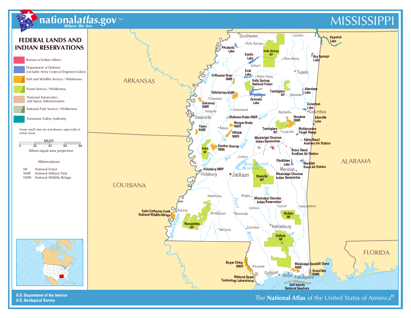 large map of mississippi state federal lands and indian reservations
