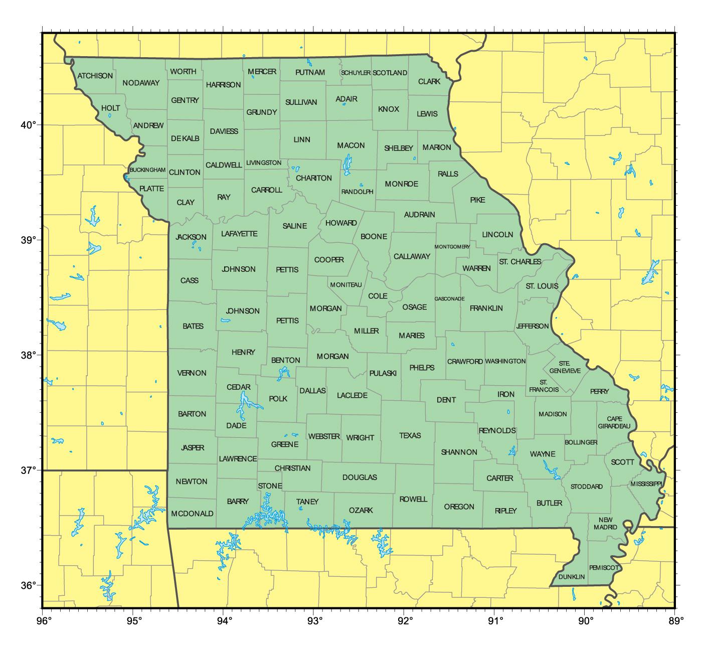 Detailed administrative map of Missouri state | Missouri state | USA ...