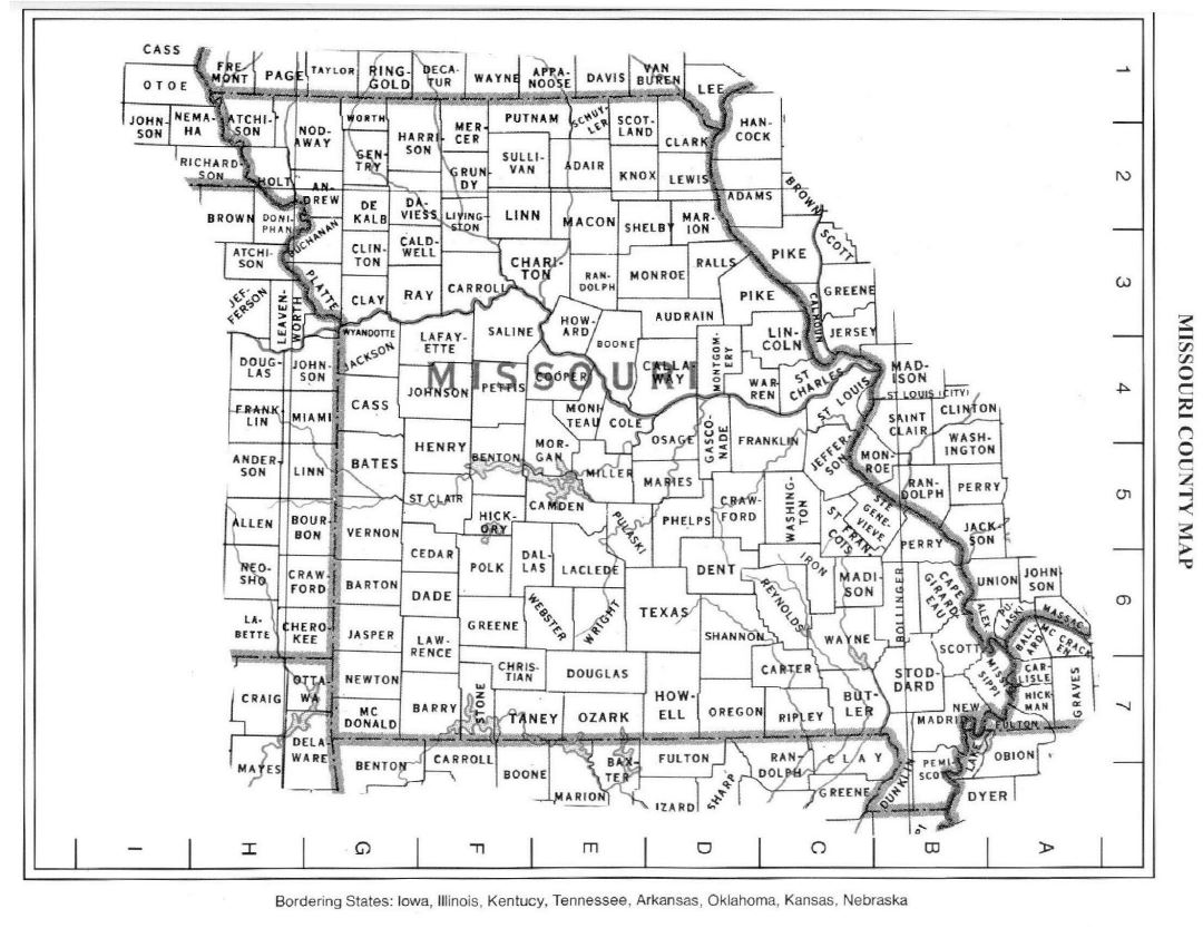 Detailed Missouri state county map