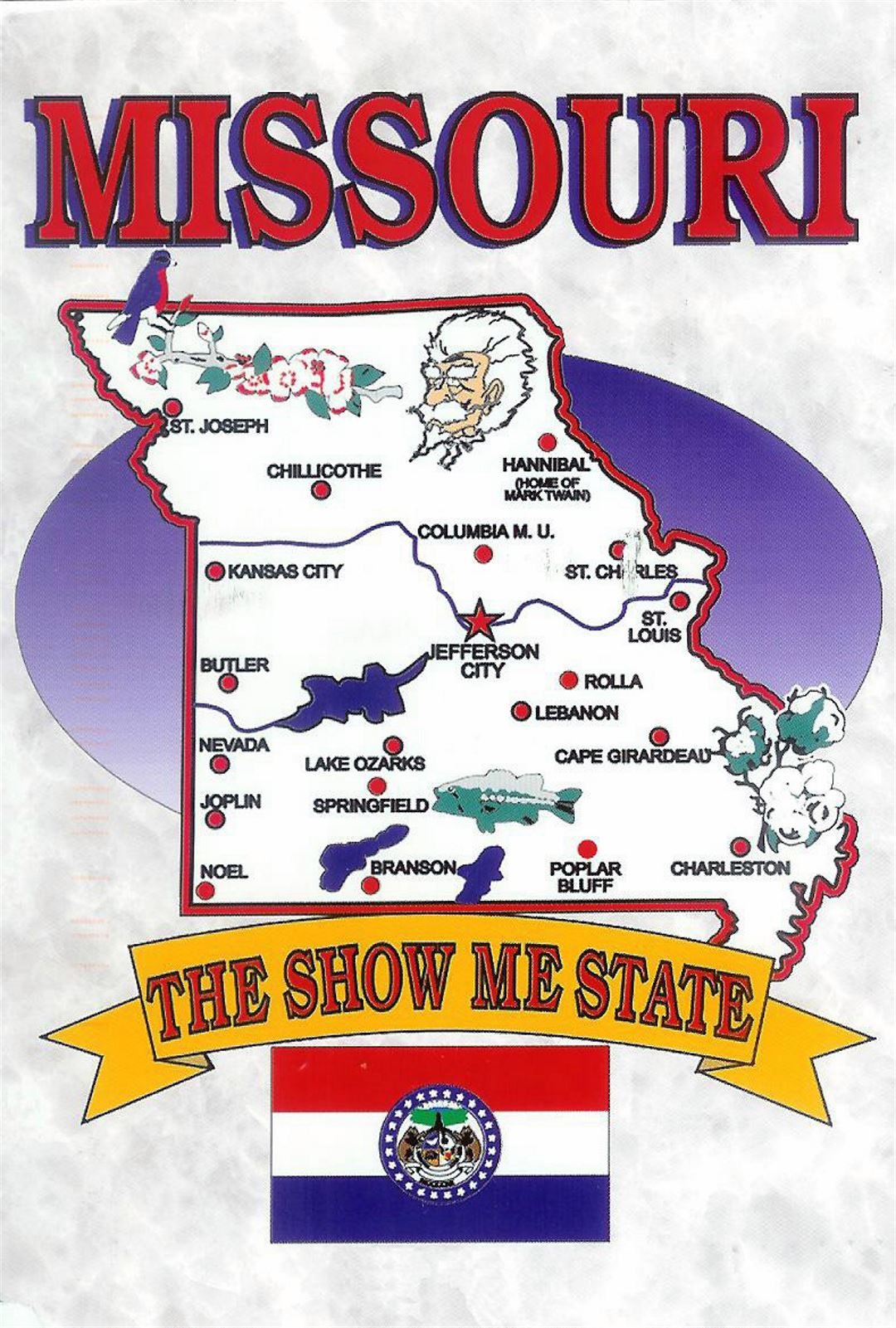 Detailed tourist illustrared map of Missouri state