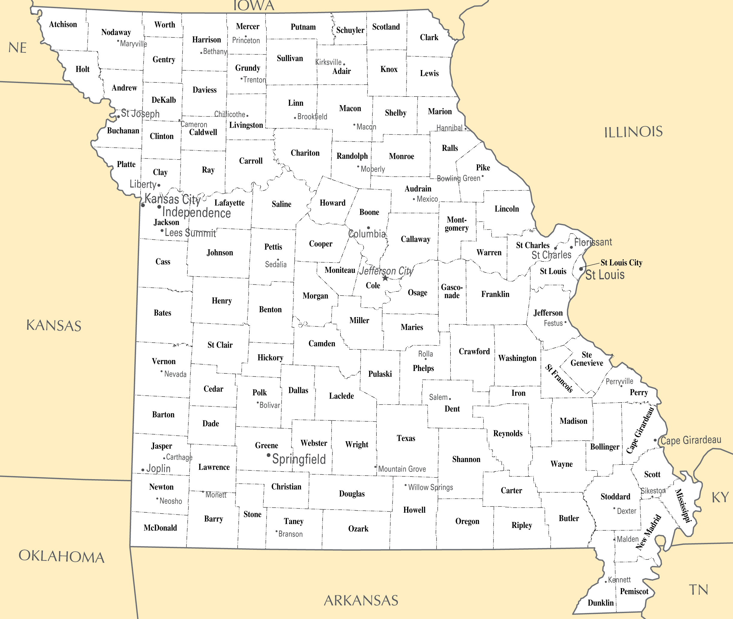 Large administrative map of Missouri state | Missouri state ...