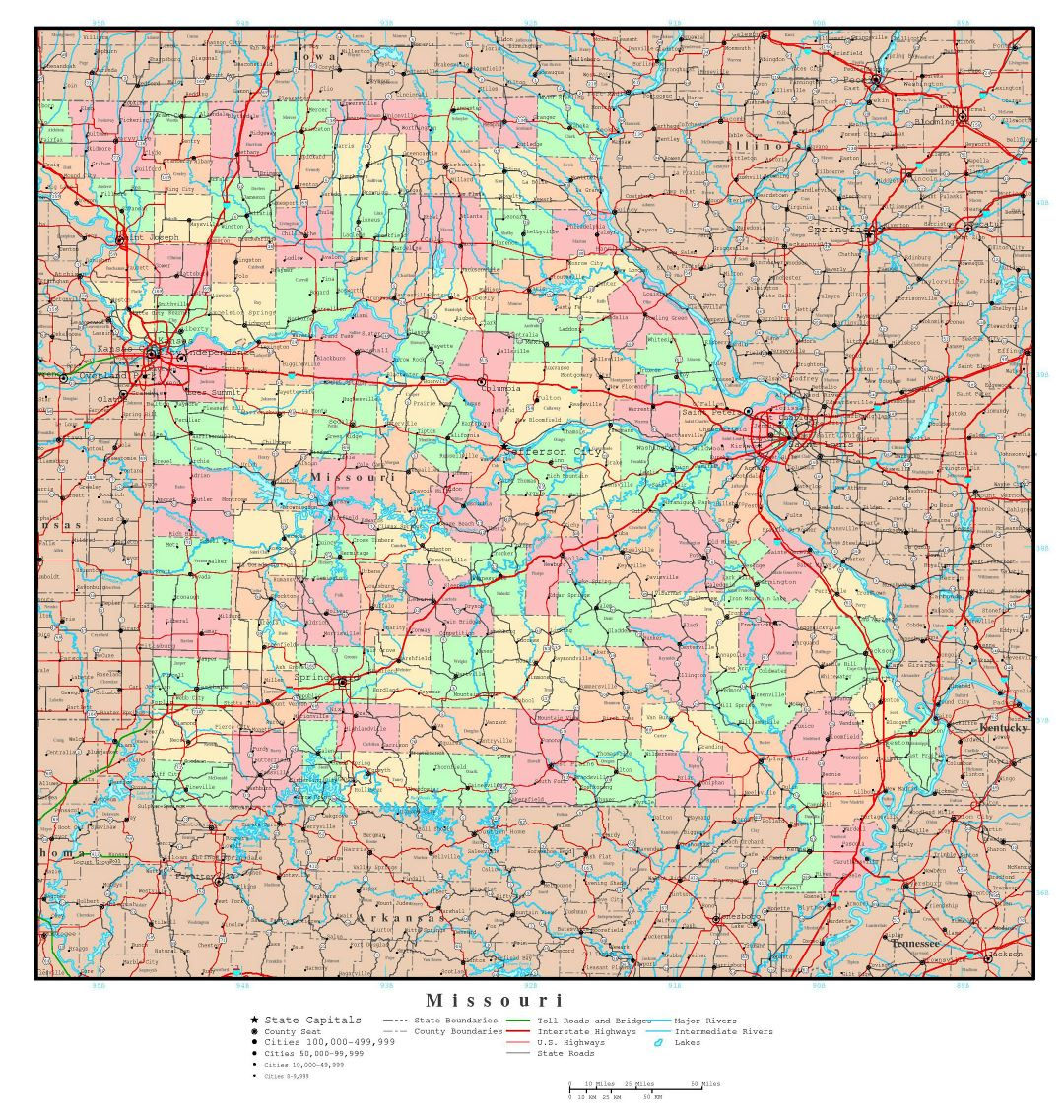 Large detailed administrative map of Missouri state with roads, highways and major cities