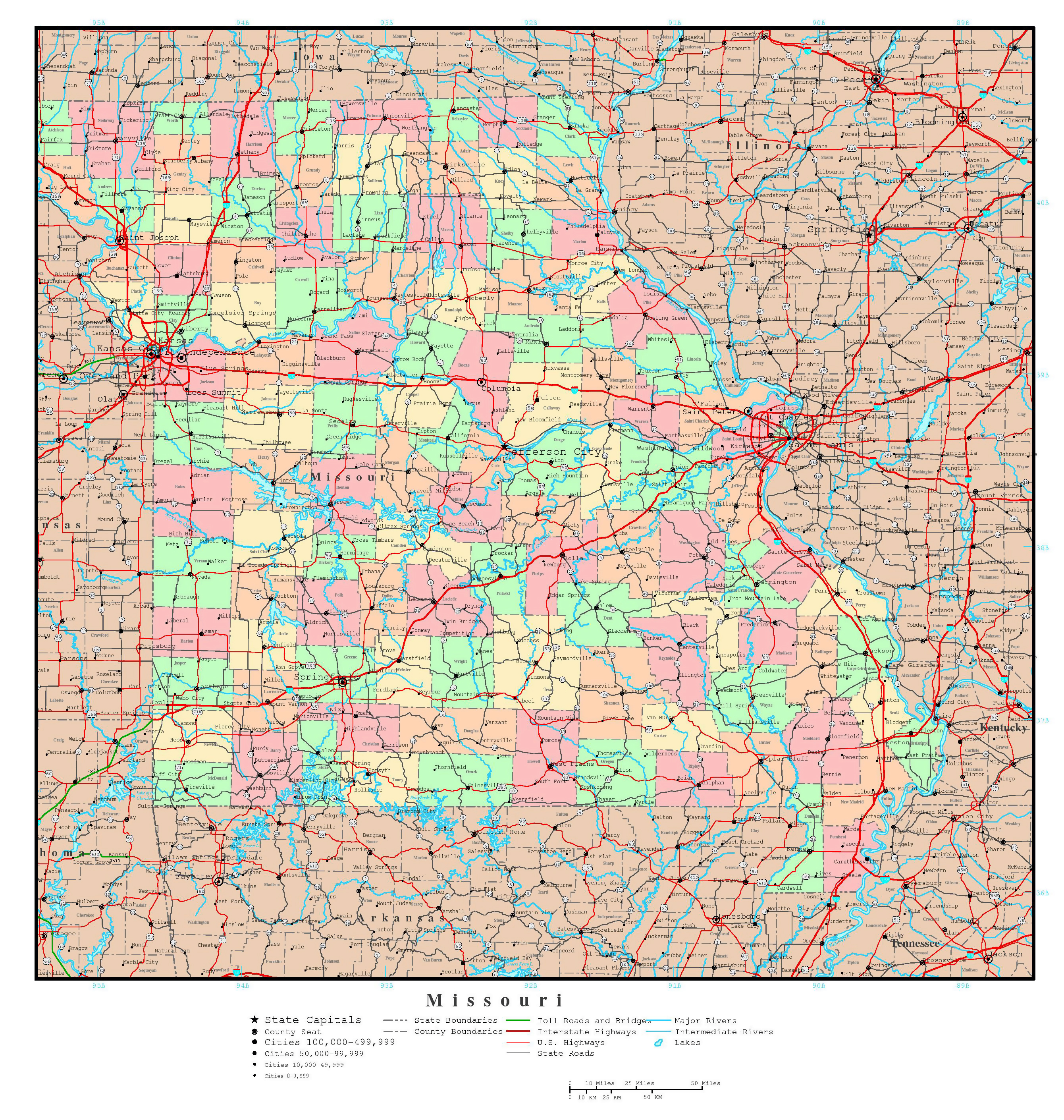 Large Detailed Administrative Map Of Missouri State With Roads - Missouri usa map