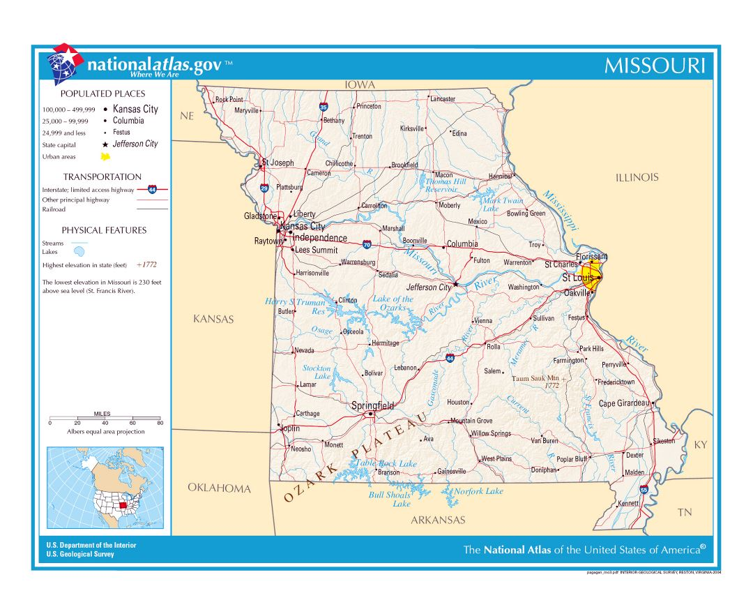 Maps Of Missouri State Collection Of Detailed Maps Of Missouri - Map of missouri showing branson