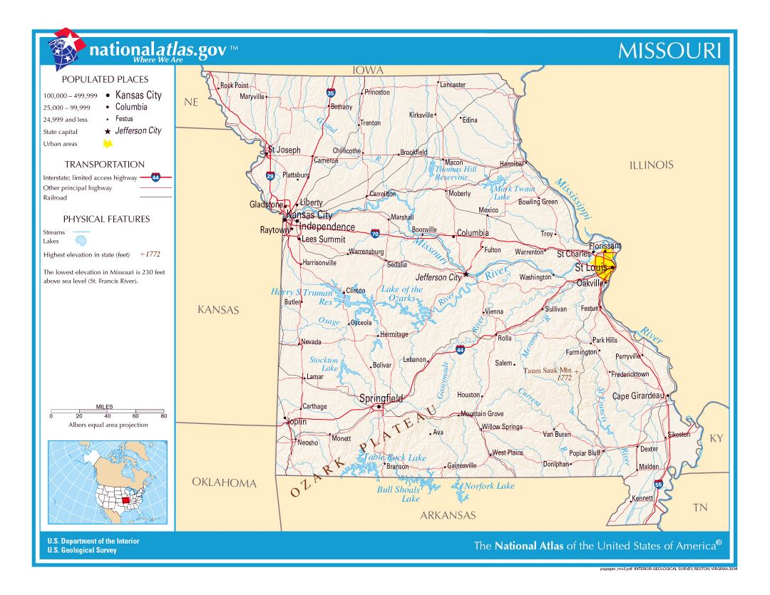 Large detailed map of Missouri state