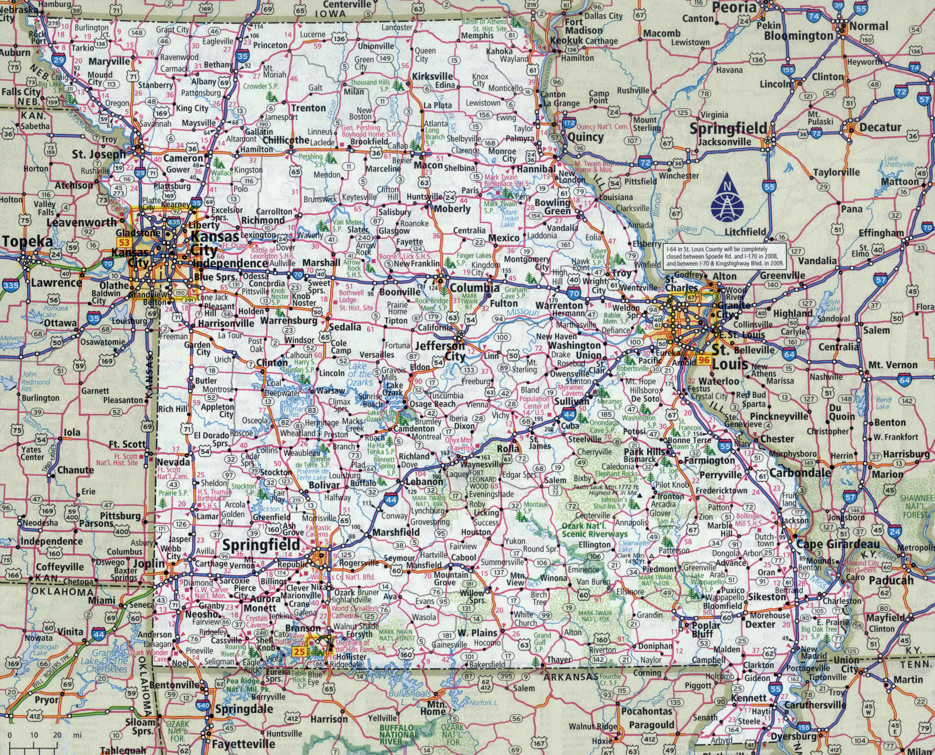 Large detailed roads and highways map of Missouri state with ...