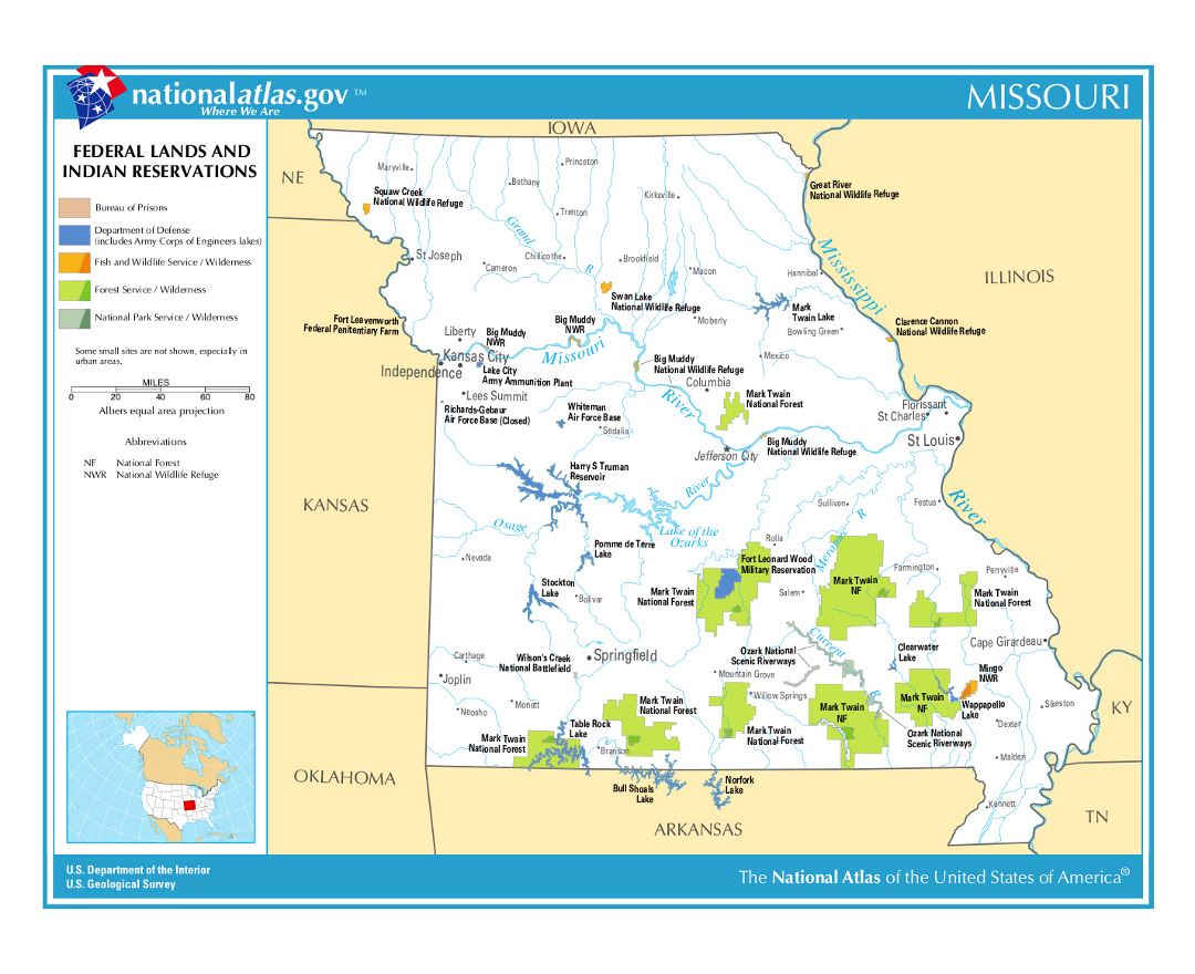 large map of missouri state federal lands and indian reservations
