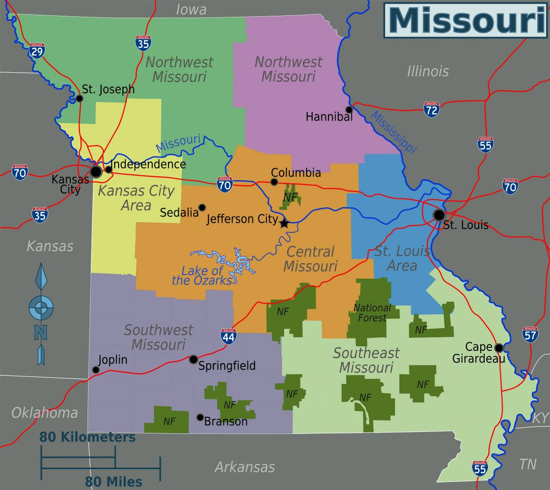 Large regions map of Missouri state