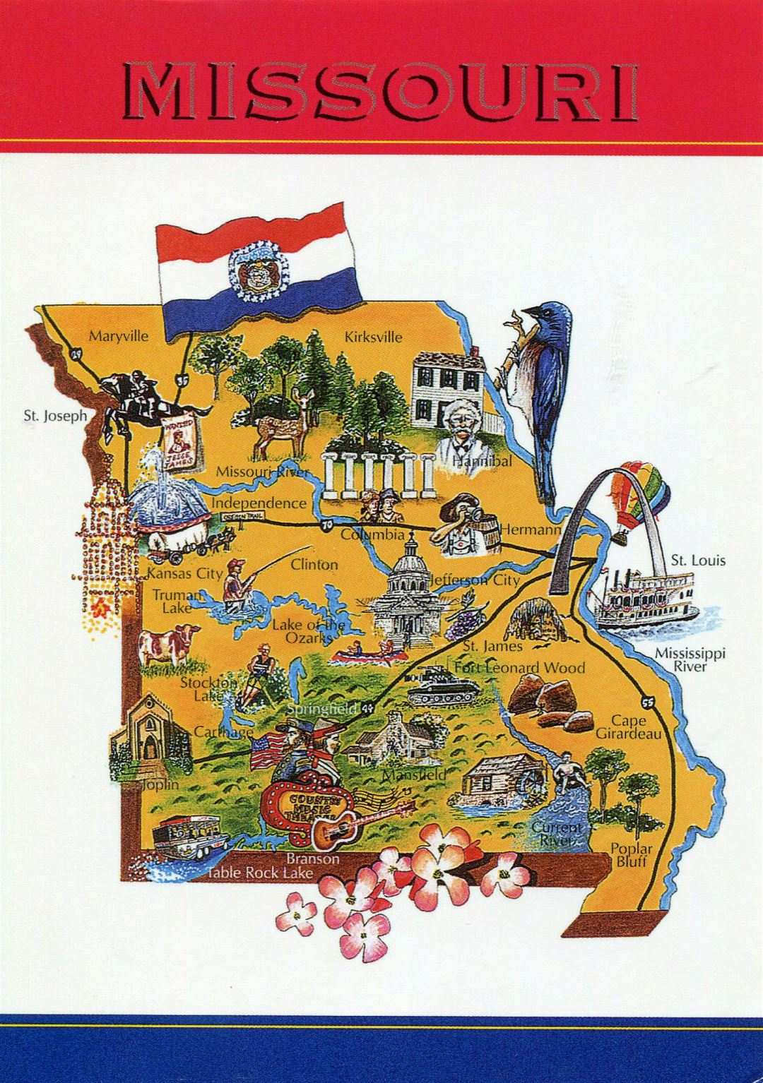 Large tourist illustrated map of Missouri state