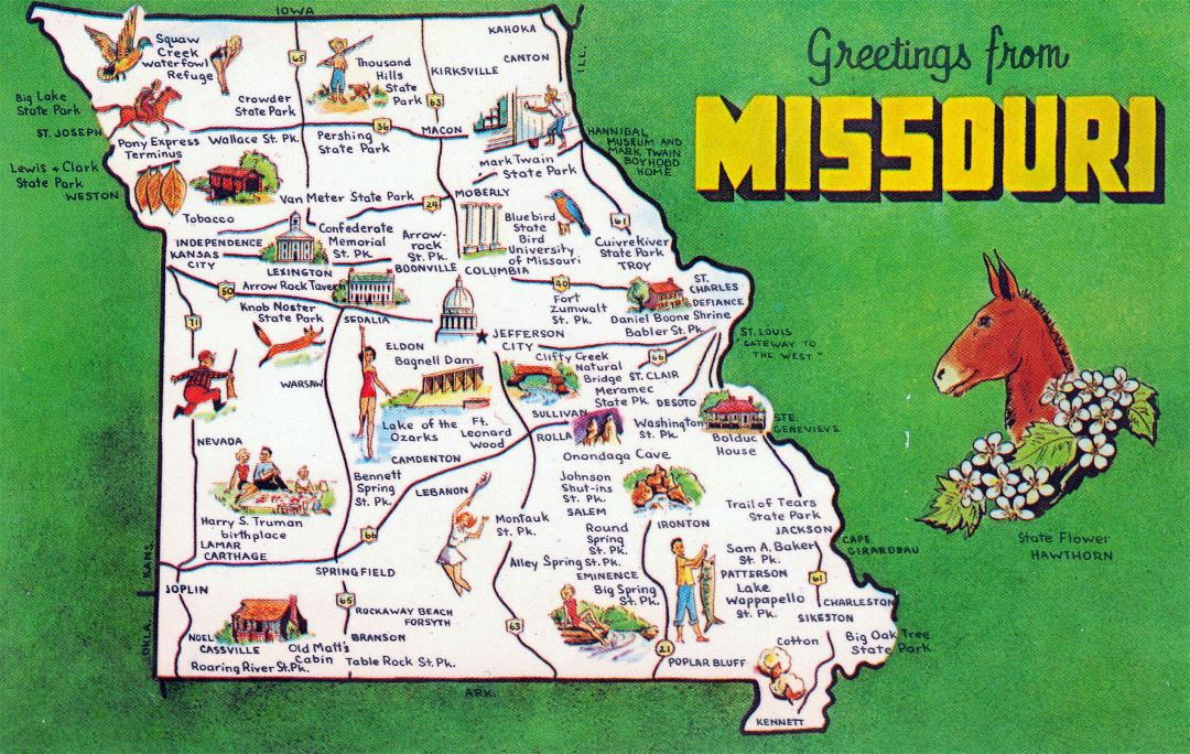 Large tourist map Missouri state