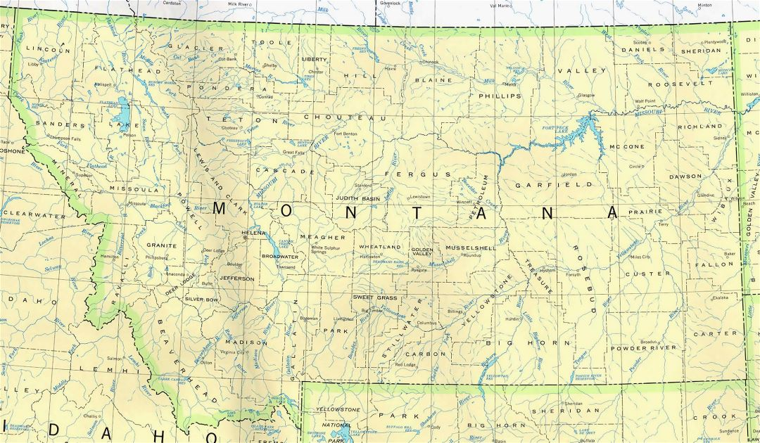 Administrative map of Montana state