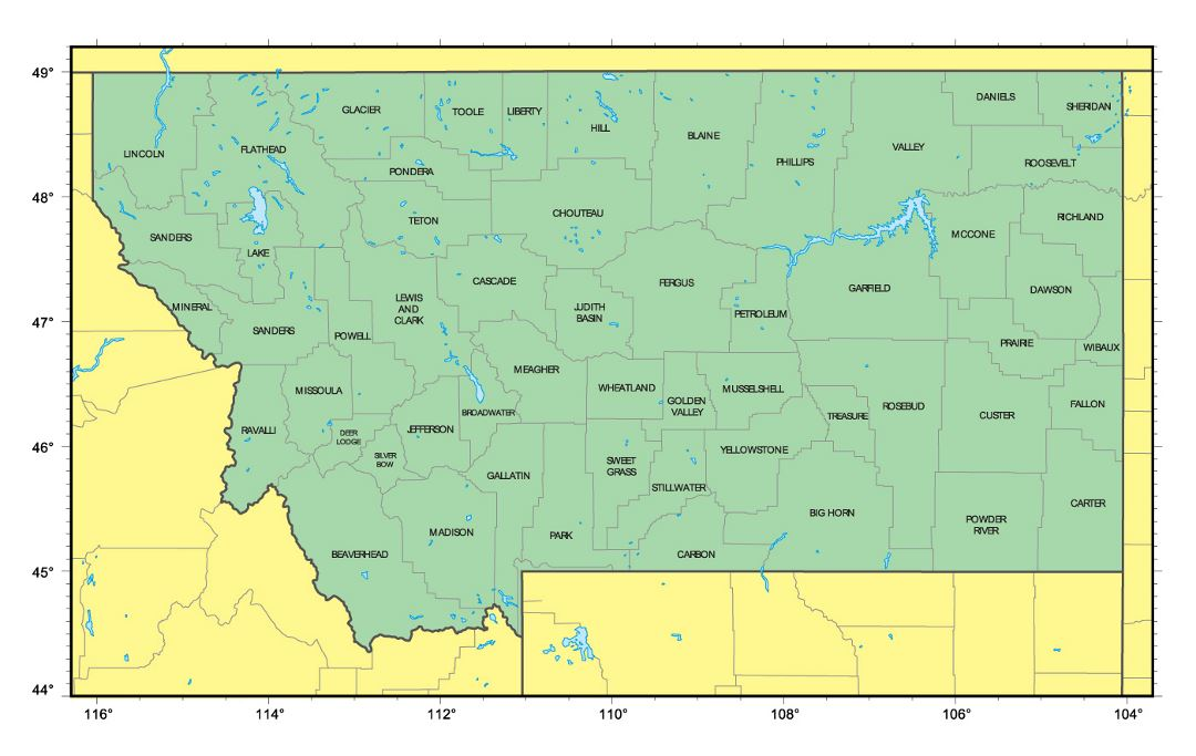 Detailed administrative map of Montana state