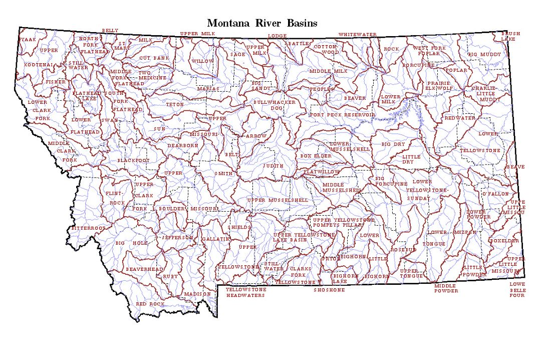 Detailed map of Montana state river basins