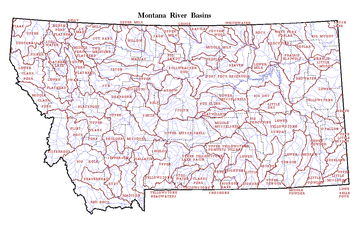 Detailed map of Montana state river basins | Montana state ...