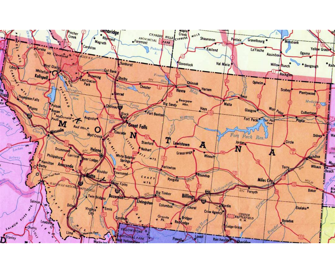 Highways map of Montana state