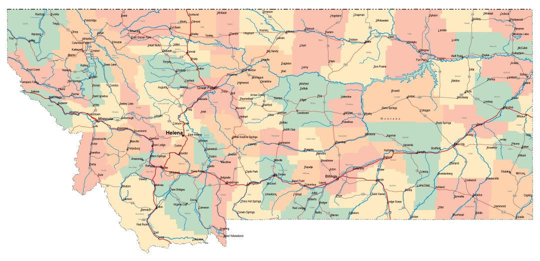 Large administrative map of Montana state with roads, highways and cities