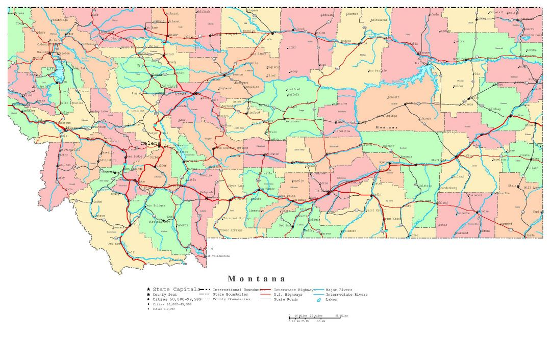 Large detailed administrative map of Montana state with roads, highways and cities