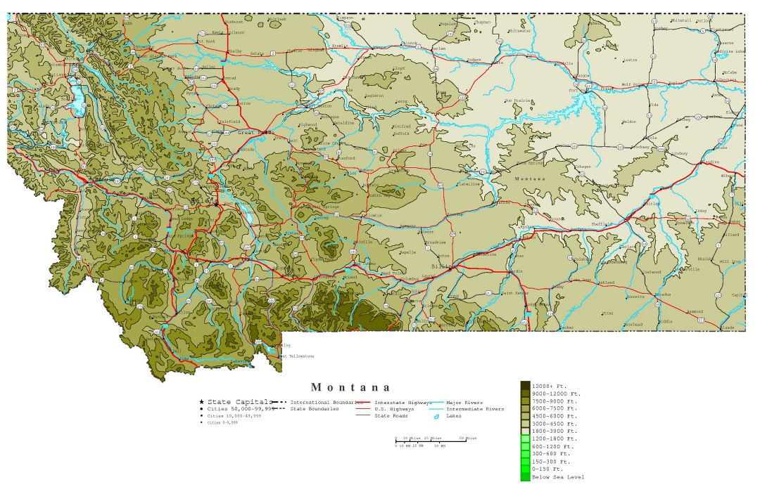 Large detailed elevation map of Montana state with roads, highways and cities