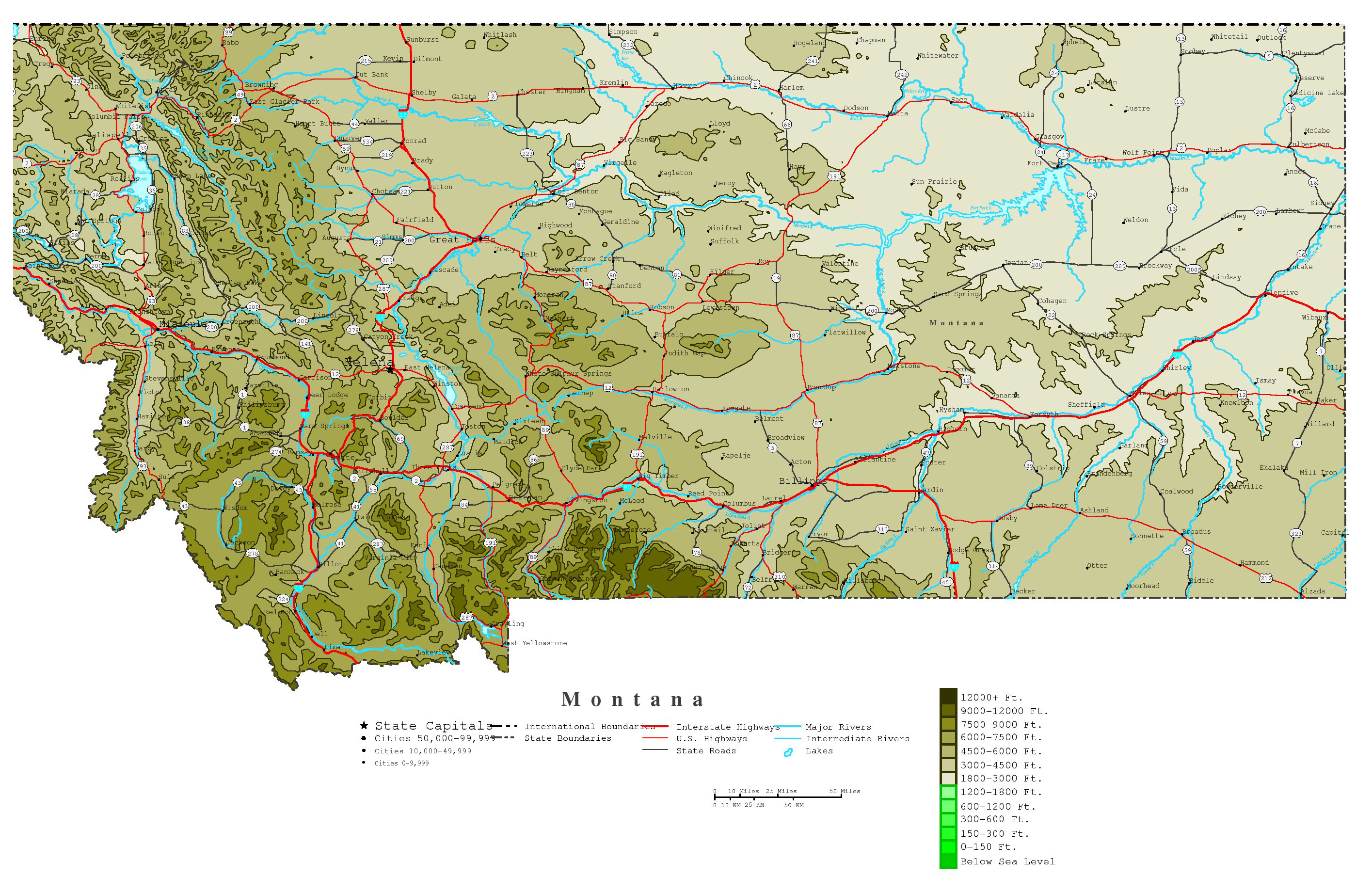 Large detailed elevation map of Montana state with roads, highways ...