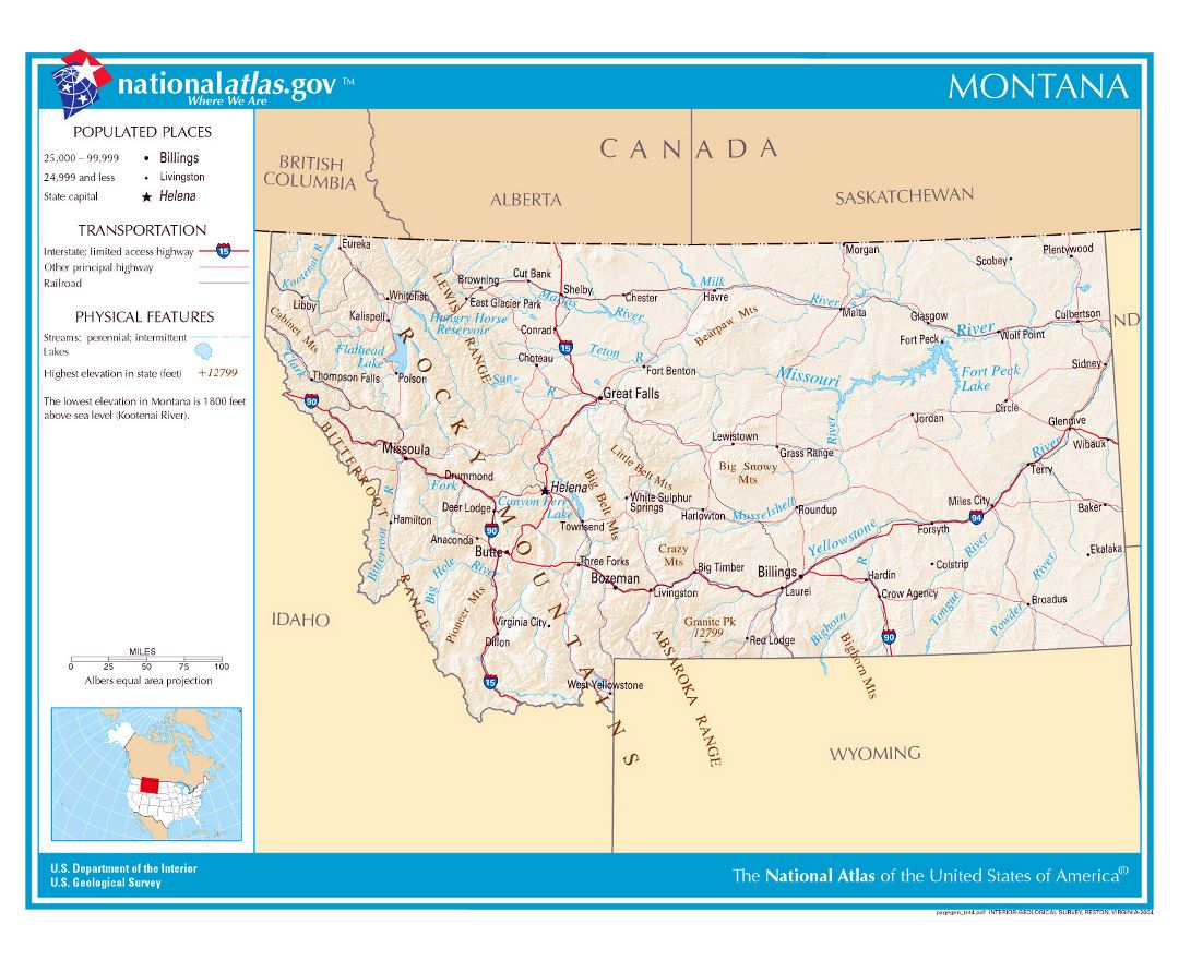 Large detailed map of Montana state