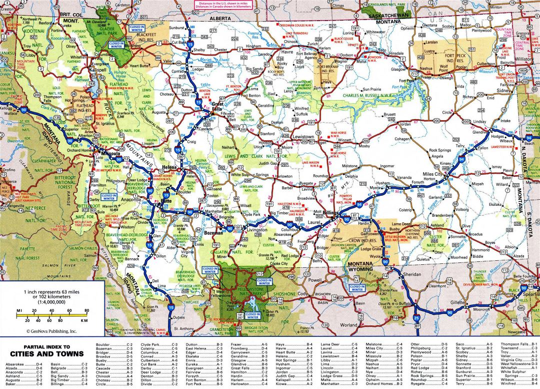 Large detailed roads and highways map of Montana state with all cities and national parks
