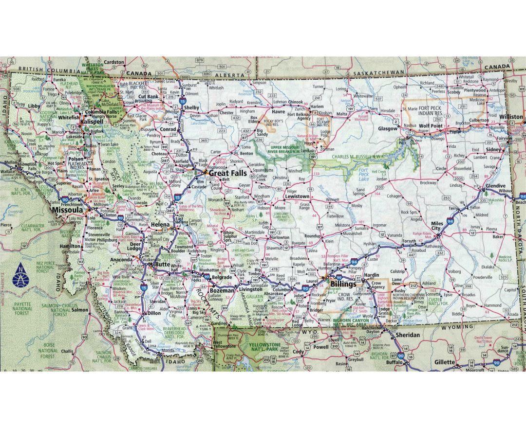 Maps Of Montana State Collection Of Detailed Maps Of Montana - Highway map of usa with states and cities