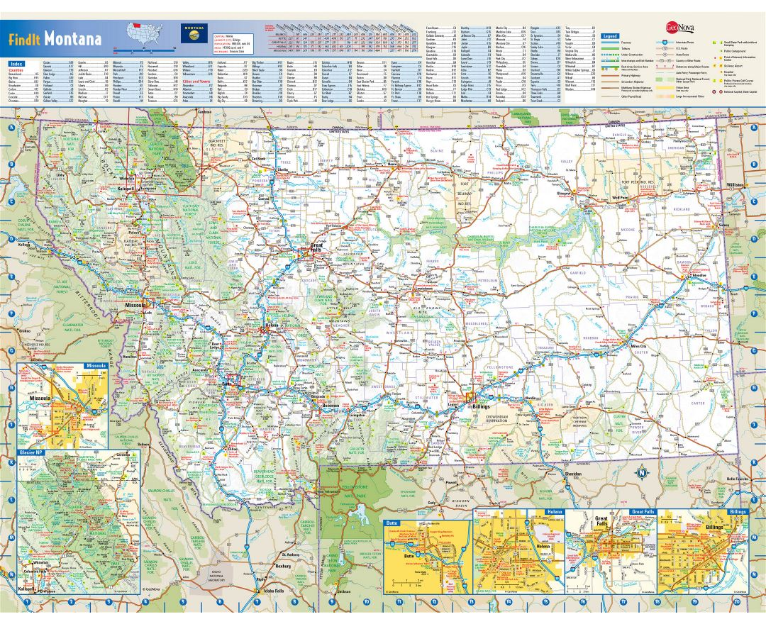Maps of Montana state | Collection of detailed maps of Montana state ...