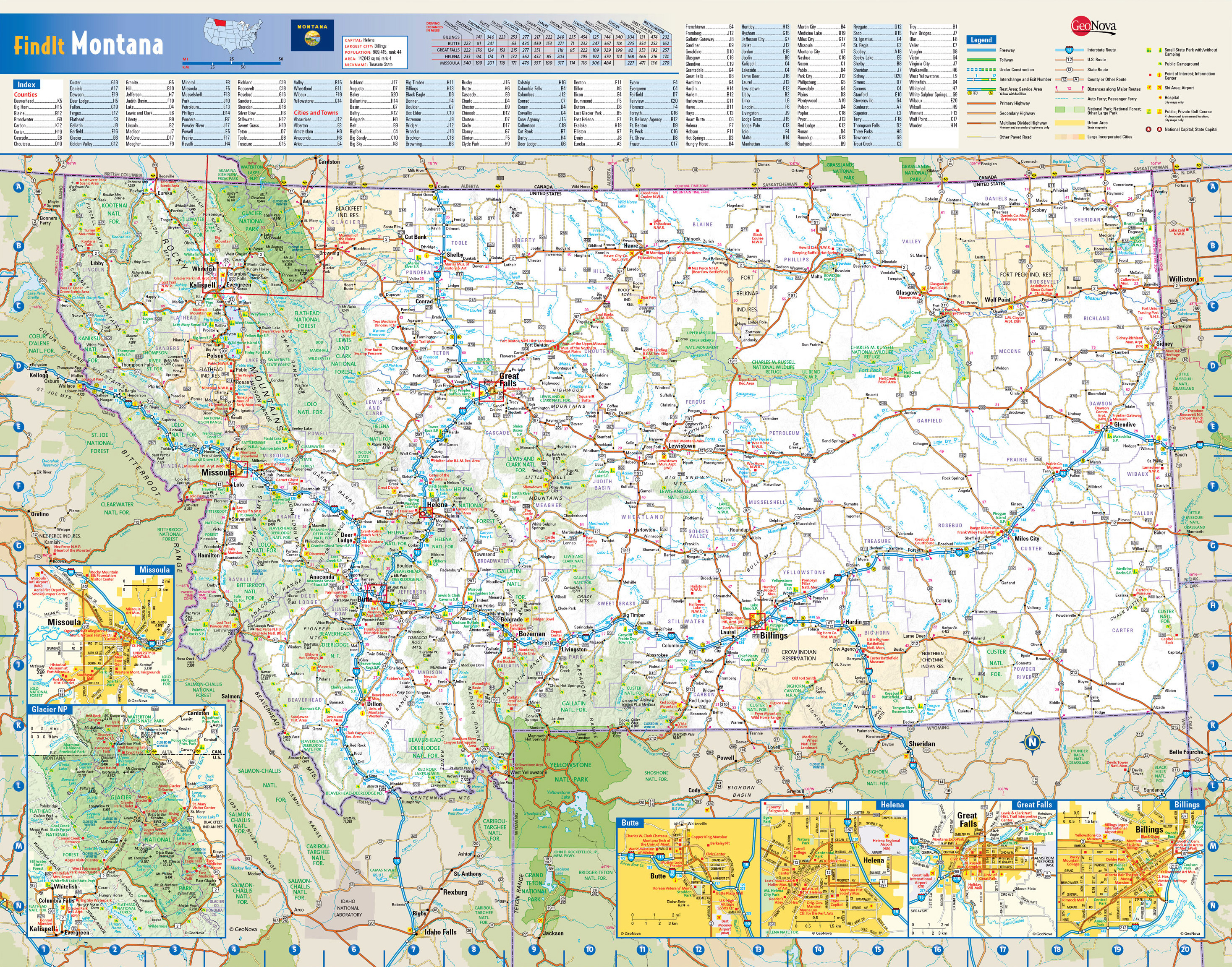 Large detailed roads and highways map of Montana state with national