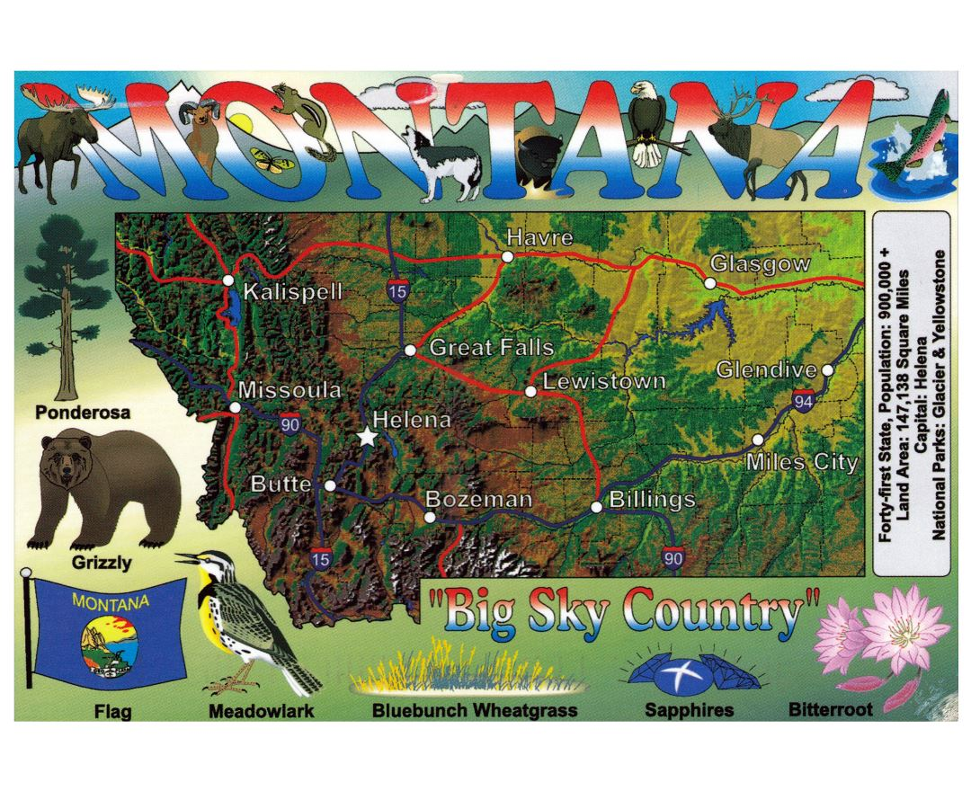 Large tourist map of Montana state
