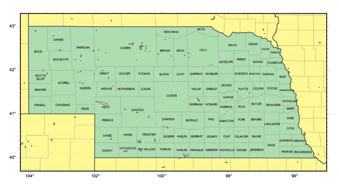 Detailed administrative map of Nebraska state