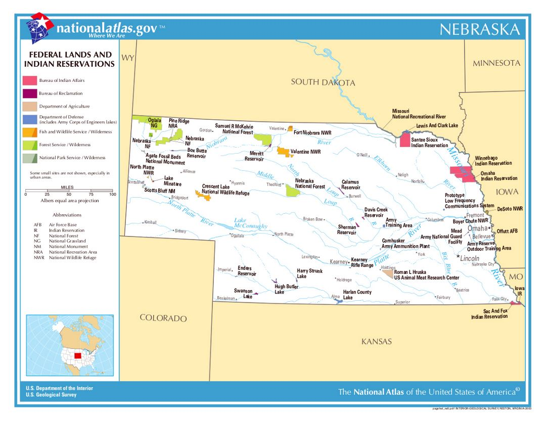 Detailed map of Nebraska state federal lands and indian reservations