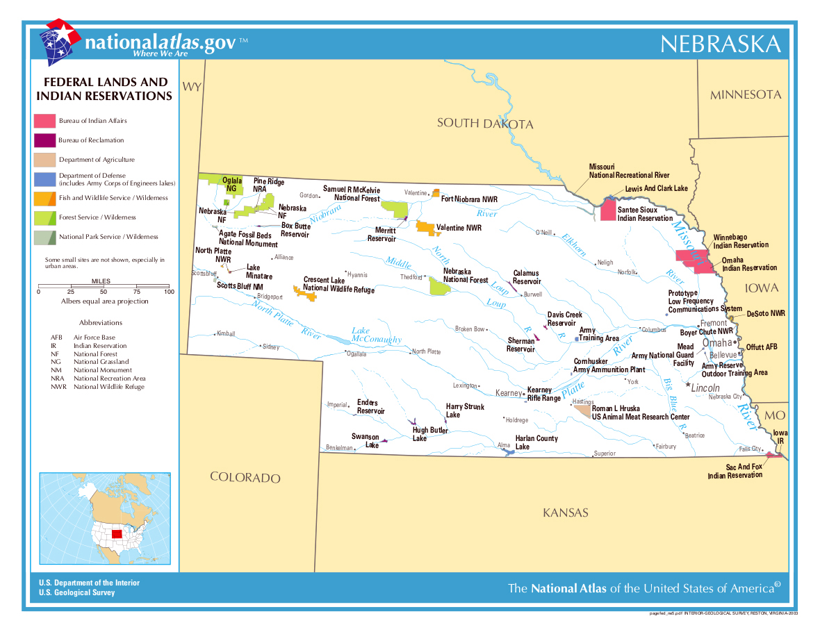 Detailed map of Nebraska state federal lands and indian