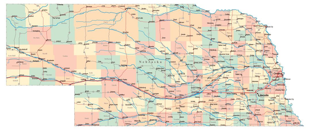 Large administrative map of Nebraska state with roads, highways and cities