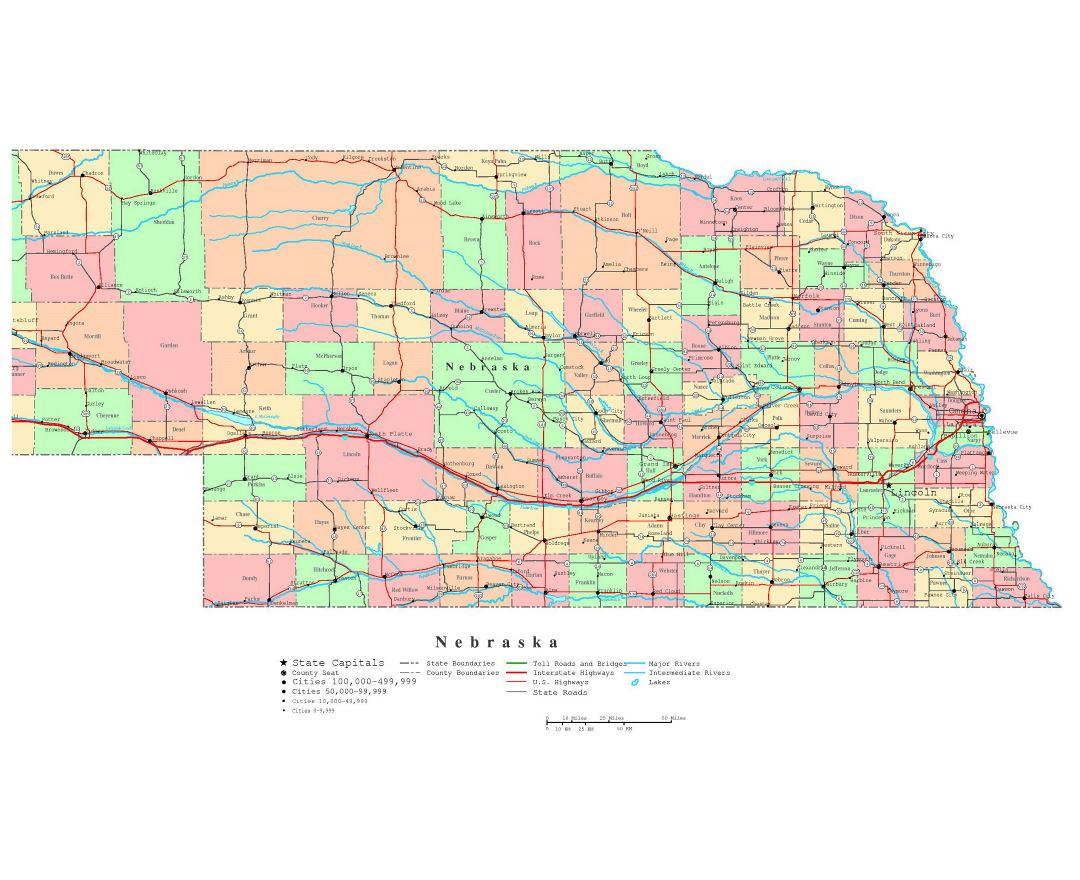 Road Map Of Nebraska My Blog - Detailed map of usa with cities