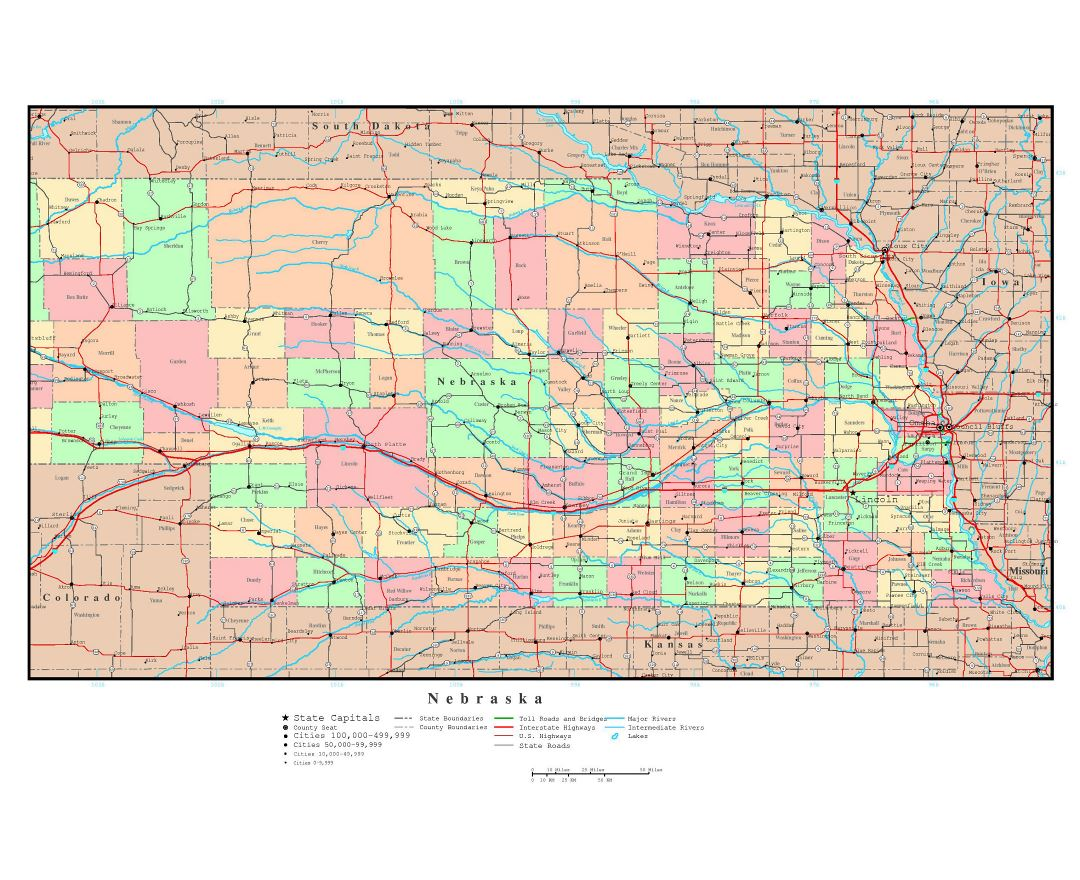 Maps Of Nebraska State Collection Of Detailed Maps Of Nebraska - Highway map of usa with states and cities